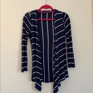 Blue and white striped open cardigan